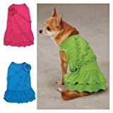 Rosette Ruffle Dress Color: Raspberry, Size: Small, My Pet Supplies
