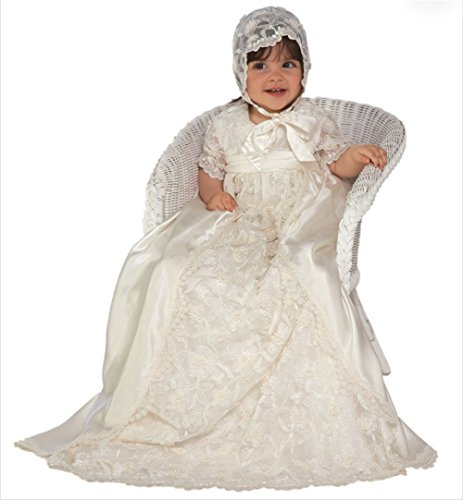 - Newdeve Baby-Girls Beading Lace Ivory Long Christening Gowns with Bonnet (Newborn, White)
