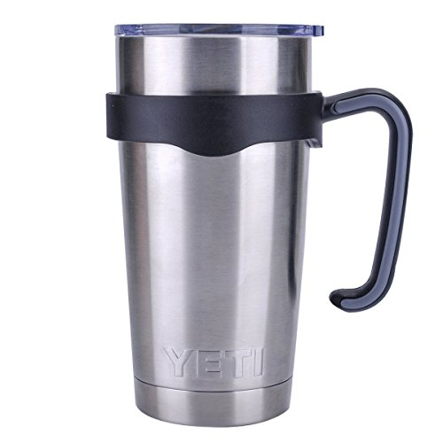 Tumbler Handle for 20 oz Yeti Rambler Cooler Cup, Rtic Mug, Sic, Ozark Trail Grip and more (20 Oz, Black)