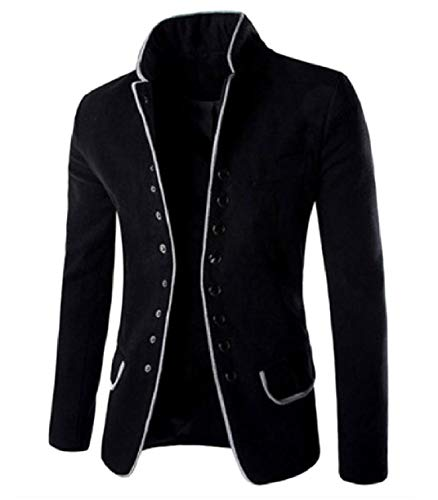 (SportsX Men Worsted Single Breasted Banquet Fall Winter Blazer Dress Suit Black M)