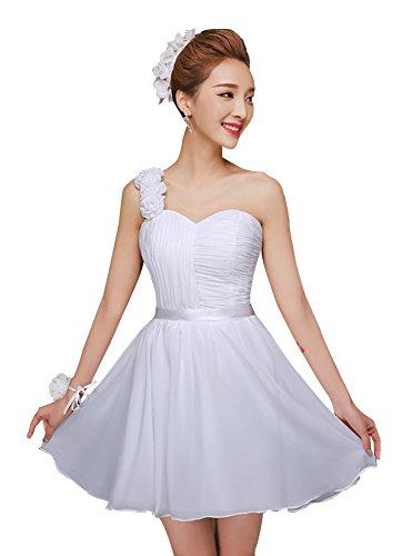 Vestito Della Uno A Ritorno Bianca Drasawee Damigella Da Spalla Abiti Casa Junior D'onore Breve Chiffon Promenade HIOx0S