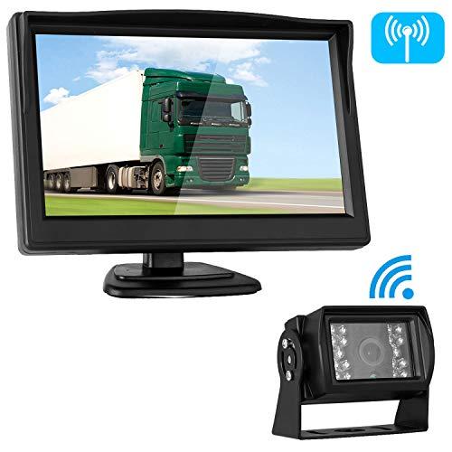 Digital Wireless Lcd - Emmako Digital Wireless Backup Camera 5'' Monitor System Truck/RV/Car/Trailer/Pickup IP69K Waterproof Rear/Side/Front View Driving/Reversing Use Guide Lines On/Off