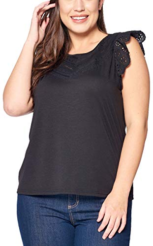 Women's Junior Plus Fitted Round Neck Top W Ruffle Lace Trim Sleeves Black ()