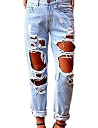 Women Getting Ripped Hole Cut Off Boyfriend Style Washed Jeans Pants
