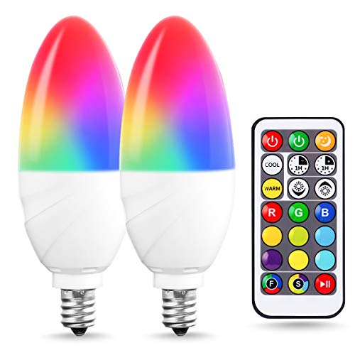 JandCase E12 Candelabra Color Changing Light Bulb, Remote Control, RGB+Warm White+Cool White, 5W(40W Equivalent), 350lm, Timing, Dimmable Multi-Color LED Bulbs for Home Lighting, Party, 2 Pack