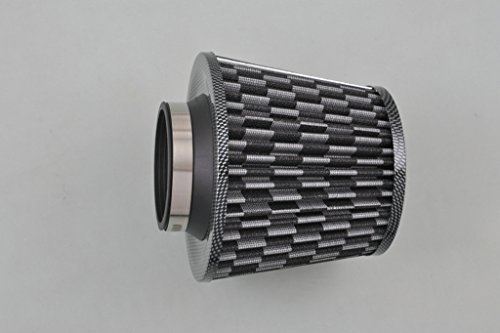 "Sunny Car New 3.0"" Inlet Carbon Fiber Black Universal Cold Air Intake Cone Air Filter"