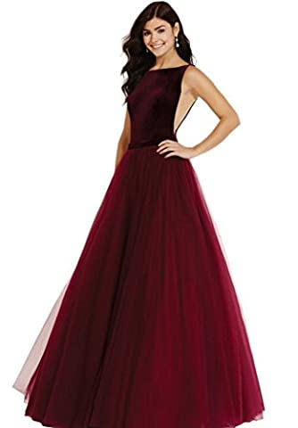 SHARON Womens A-line Tulle Prom Formal Evening Homecoming Dress Ball Gown Wine Red XL