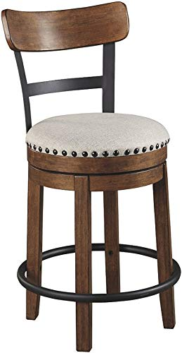 Ashley Furniture Signature Design – Valebeck Upholstered Swivel Barstool – Casual Style – Light Brown