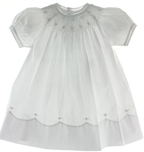 Feltman Brothers Girls White Smocked Christening Bishop Dress with Pearls, 6 months]()