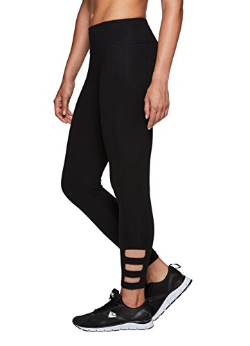 RBX Active Women's Cotton Strappy Side Yoga Leggings Black M
