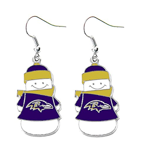 aminco Baltimore Ravens Snowman Sports Team Logo French Hook Style Charm Gift Dangle Earring Set