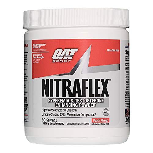 GAT Clinically Tested Nitraflex Testosterone Enhancing Pre Workout, Peach Mango, 300 Gram