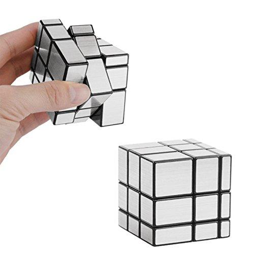 Qiyi Mirror Cube 3x3, Magic Cube 3x3x3 Irregular Silver Mirror Smooth Speed Puzzle Cube