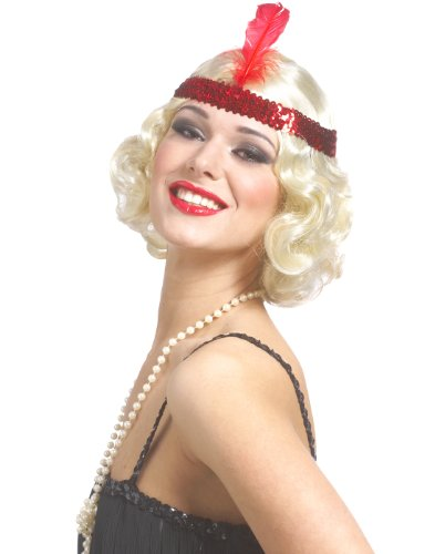 Blonde Curly Flapper Wig With Headband (Curly Blonde Flapper Wig with Red Headband)