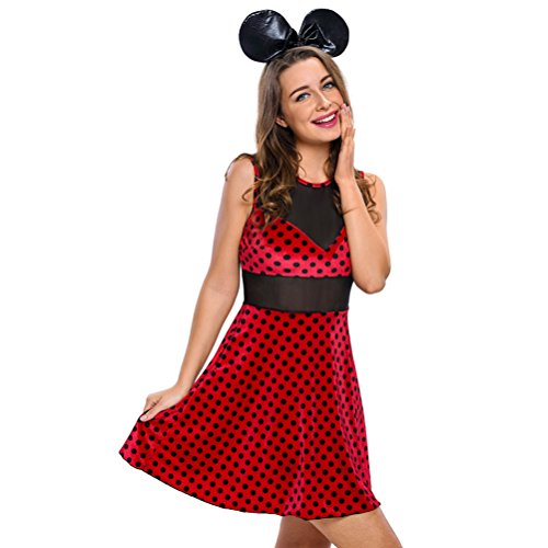 YeeATZ Women's 2pcs Mistress Mouse Costume(Size,L) (Mickey Mouse Costume Rental For Adults)