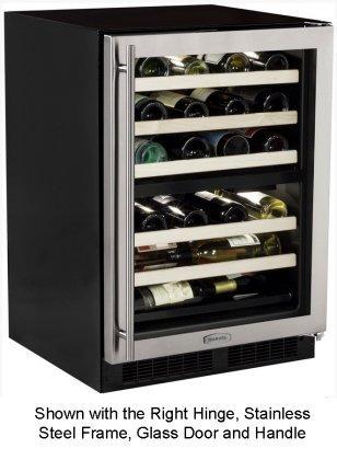 Marvel ML24WDF3LP High Efficiency Dual Zone Wine Cellar, 24', Black