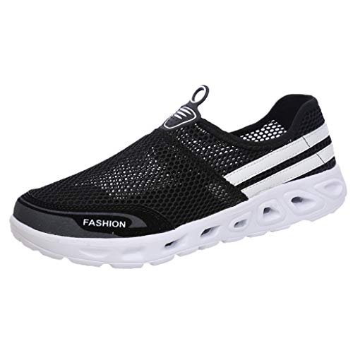 Yucode Mens Mesh Sneakers Slip-on Lightweight Athletic Running Walking Gym Shoes Slip-On Running Sports Shoes Black