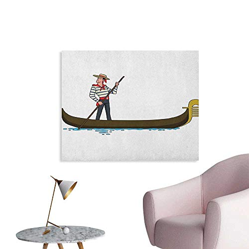 Anzhutwelve Cartoon Wall Sticker Decals Image of Gondola in Romance City Venice European Symbol of Love Italian Design The Office Poster Brown White W32 -