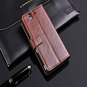 64 Lines Bracket Wallet Leather Case For Sony Xperia Z L36h & Color = Black