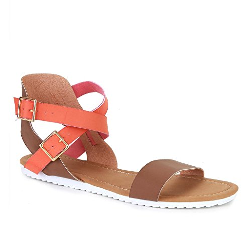 Twisted Women's VIOLA Faux Leather Two Tone Ankle Wrap Sandal with Razor Outsole - COGNAC, Size 9