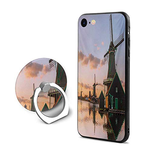 Windmill iPhone 7/iPhone 8 Cases,Traditional Village with Canal Waterfront Dutch Architecture with Scenic View Multicolor,Mobile Phone Shell Ring -