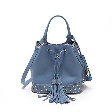 wzw Mujer Bolso de bandolera PU (Poliuretano) para todas las estaciones Cubo a cuerda azul negro marrón, marrón azul