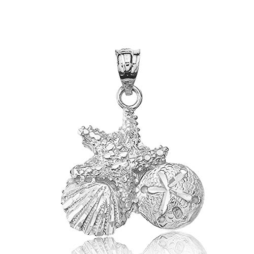 Fine 925 Sterling Silver Starfish Cockle Sea Shell and Sand Dollar Pendant