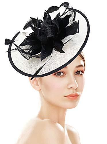 Z&X Fascinator with Headband Cocktail Tea Party Feather Floral Pillbox Hat Black