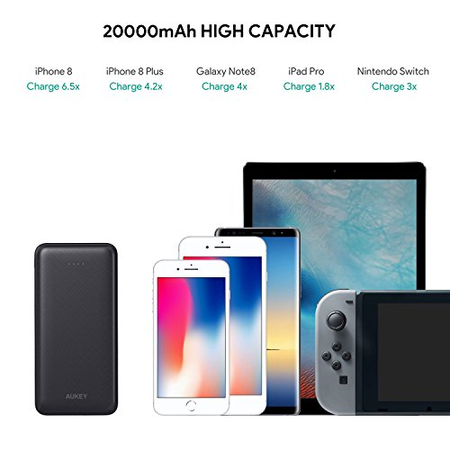 AUKEY USB C energy Bank 20000mAh easily transportable Charger with quick bill 30 Battery Pack 3 Outputs 2 Inputs for iPhone X 8 7 Samsung S8 S8 iPad External Battery Packs