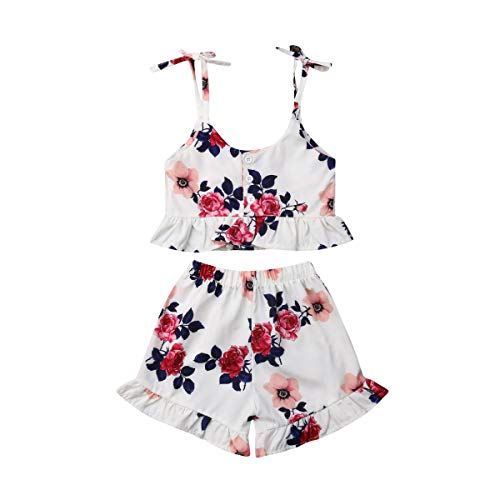 2 Pcs Clothes Set Baby Girl Summer Floral Halter Ruffled Outfit Set Strap Crop Tops+Short Pants (2-3 Years, Floral) ()