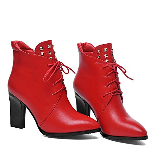 7 rot rot rot UK 8 Größe YL Damenstiefel qPCxa