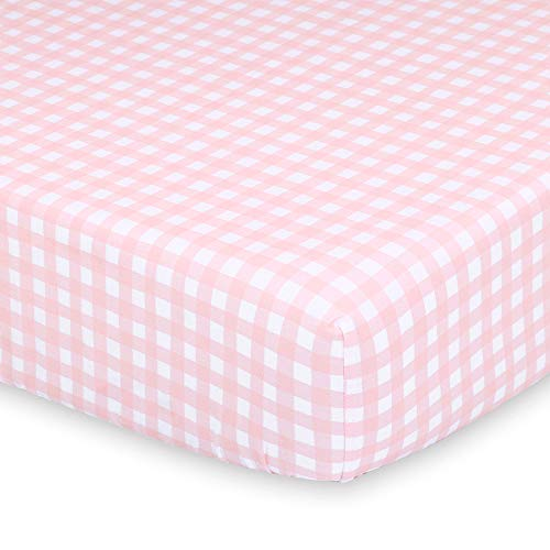 Pink and White Check Fitted Baby Girl Crib Sheet - Farmhouse Collection by The Peanut Shell