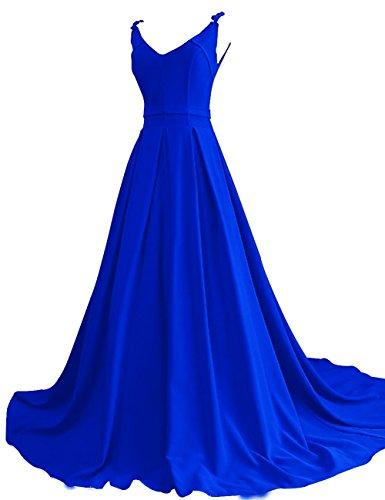 Une Ligne De V-cou Balayage Train Robe De Bal De Graduation En Mousseline De Soie Bleu Royal Pour Les Femmes Bess Mariée