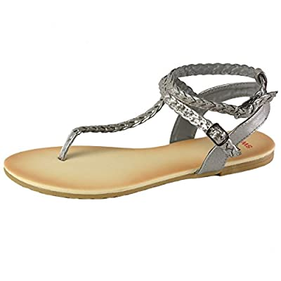 alpine swiss Women's Gladiator Sandals Braided T-Strap Slingback Roman Flats