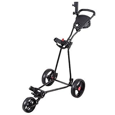 Tangkula Folding Golf Cart 3 Wheels Lightweight Golf Club Push Pull Cart Trolley