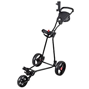 Amazon.com : TANGKULA Folding Golf Cart 3 Wheels Lightweight Golf Club Push Pull Cart Trolley