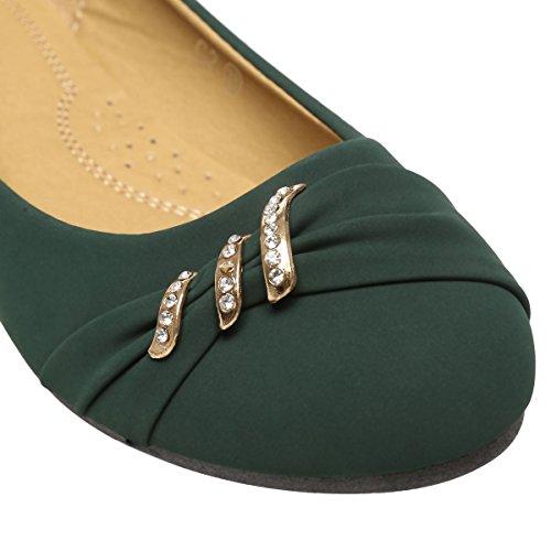 La Modeuse - Bailarinas para mujer Verde