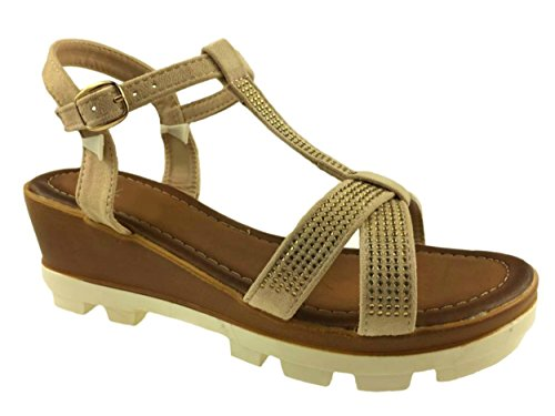 LADIES FAUX SUEDE STRAPPY WEDGE SANDALS STUD DETAIL SIZE 3-8 Beige cui6KqLy