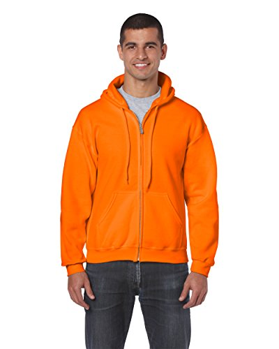 Gildan 18600 – Classic Fit Adult Full Zip Hooded Sweatshirt Heavy Blend – First Quality – Safety Orange – 5X-Large