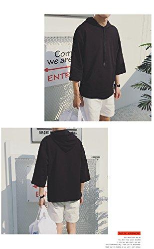 夏 薄手 柔らかい 七分袖 快適 メンズ Infabe シルエット ゆったり スポーツ 軽い 無地 おしゃれ ファッション 人気 ファッション かっこいい Tシャツ パーカー