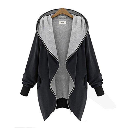 Women Slim Hooded Thicken Cotton Padded Coat Hoodies Black - 1