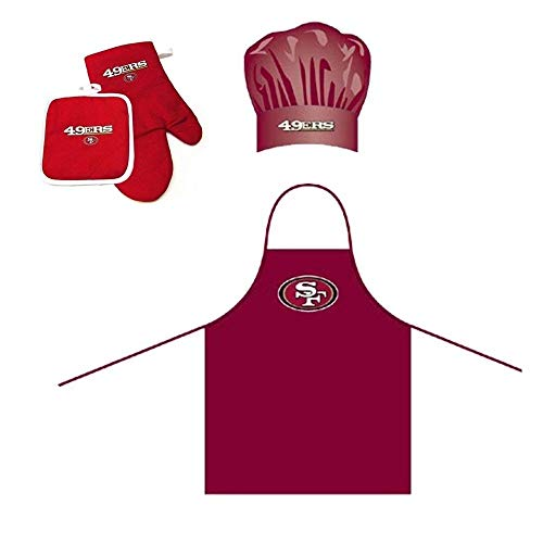 4 Piece Red NFL San Francisco 49ers Apron, Chef Hat, Oven Mitt and Pot Holder Set Team Logo Printed Kitchen Chef Apron Sports Themed Cooking Uniform BBQ Gardening Bib Clothing Fans Gift, Polyester