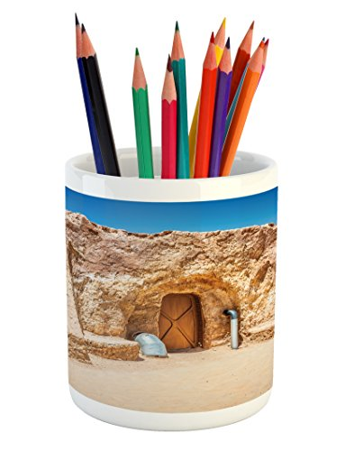 Ambesonne Galaxy Pencil Pen Holder, One of Abandoned Sets of Movie in Tunisia Desert Phantom Menace Galaxy Themed Image, Printed Ceramic Pencil Pen Holder for Desk Office Accessory, Brown Blue by Ambesonne