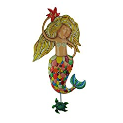 Allen Designs Sirena Extra-Large Whimsical Mermaid Pendulum Wall Clock