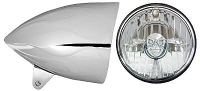 "Adjure HB54211-SR 5-3/4"" Flamed Chrome Sunset Boulevard Style Sleek Motorcycle Headlight Bucket with Diamond Cut Skull Headlamp (Part No: T50100-SR)"