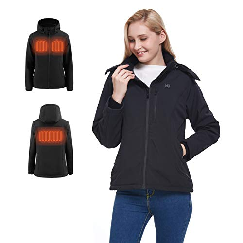 N NIFVAN Women's Heated Jacket with Detachable Hood Winter Outdoor Coat with 8.4V Battery Pack 3 Adjustable Heating Setting