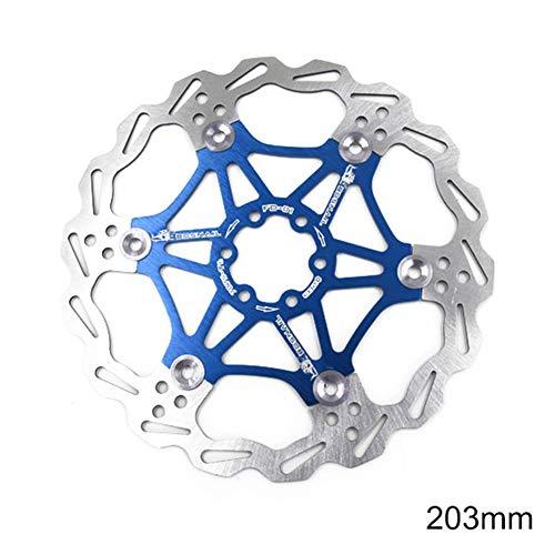FAgdsyigao 160/180/203mm Bicycle MTB Mountain Bike Brake Rotors Metal Floating Disc Plate 203mm Blue