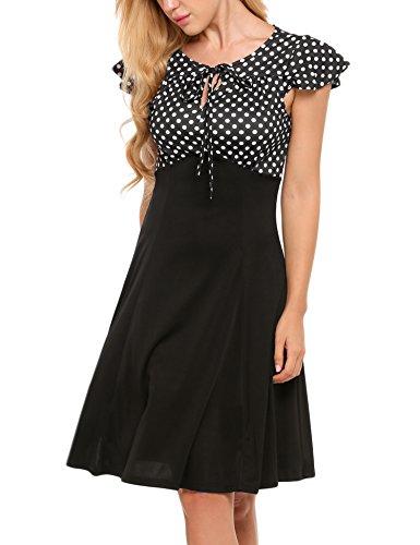 ACEVOG Women's Vintage Style Classic Cap Sleeve High Waist Polka Dot A-Line Swing Dress (Cap Tie Sleeve Waist Dress)