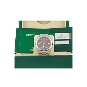Rolex Date-39 Red Grape Dial Steel Mens Watch 114300