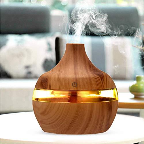 Elektrischer Luftbefeuchter Ätherische Öle Luftbefeuchter Ultraschallbefeuchter und Aromadiffusor 300 ml. Timer 3 Stunden. 7 LED-Farben. Aromatherapie-Funktion (Gelb)